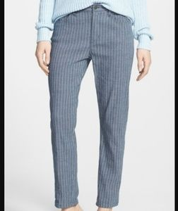 Theory Jordin W crop chambray pinstripe pants
